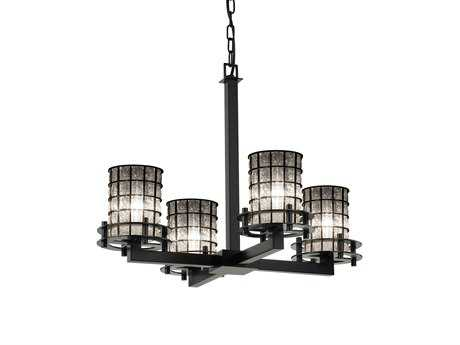 Justice Design Group Wire Glass Circa 4-Light Chandelier- Uplight