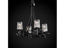 Justice Design Group Wire Glass Arcadia Cage With Blown Four-Light Chandelier