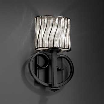 Justice Design Group Wire Glass Heritage Cage With Blown Wall Sconce