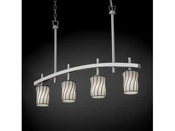 Justice Design Group Wire Glass Archway Cage With Blown Four-Light Bar Chandelier