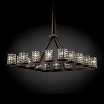 Justice Design Group Wire Glass Montana Cage With Blown 16-Light 42'' Wide Ring Chandelier