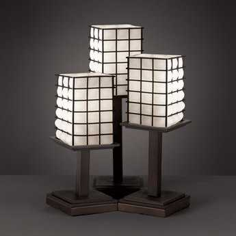 Justice Design Group Wire Glass Montana Cage With Blown Three-Light Table Lamp