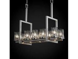 Justice Design Group Wire Glass Dakota Cage With Blown Ten-Light 13'' Wide Bridge Chandelier