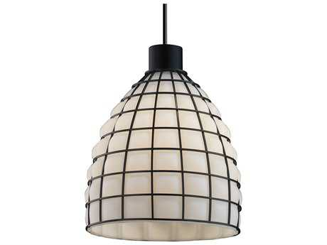 Justice Design Group Wire Glass 1-Light Large Tapered Cylinder Curved Pendant