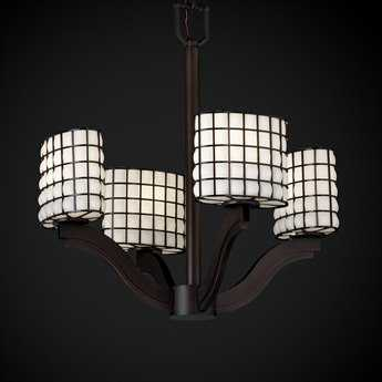 Justice Design Group Wire Glass Bend Cage With Blown Four-Light Mini Chandelier