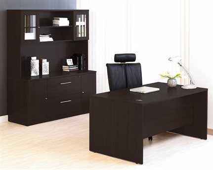 Unique Furniture 100 Series Espresso Office Desk & Credenza Set