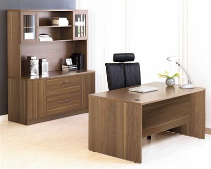 Unique Furniture 100 Series Walnut Office Desk & Credenza Set