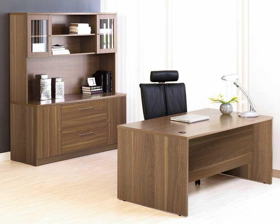 unique furniture 100 series walnut office desk credenza