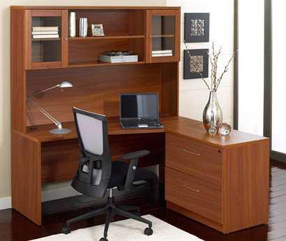Unique Furniture 100 Collection Cherry Right Configuration L-Shaped Desk Set