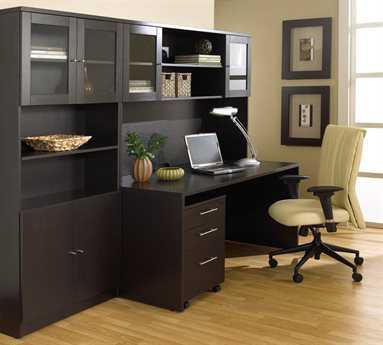 Unique Furniture 100 Collection Espresso Credenza Desk Office Set