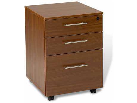 Unique Furniture 100 Collection Cherry Mobile Pedestal File Cabinet on Castors
