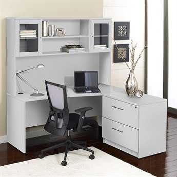 Unique Furniture 100 Series White L-Shape 63'' x 63'' Computer Desk with Hutch & Lateral File