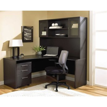 Unique Furniture 100 Series Espresso L-Shape 63'' x 63'' Computer Desk with Hutch & Mobile Pedestal