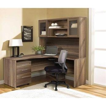 Unique Furniture 100 Series Walnut L-Shape 63'' x 63'' Computer Desk with Hutch & Mobile Pedestal