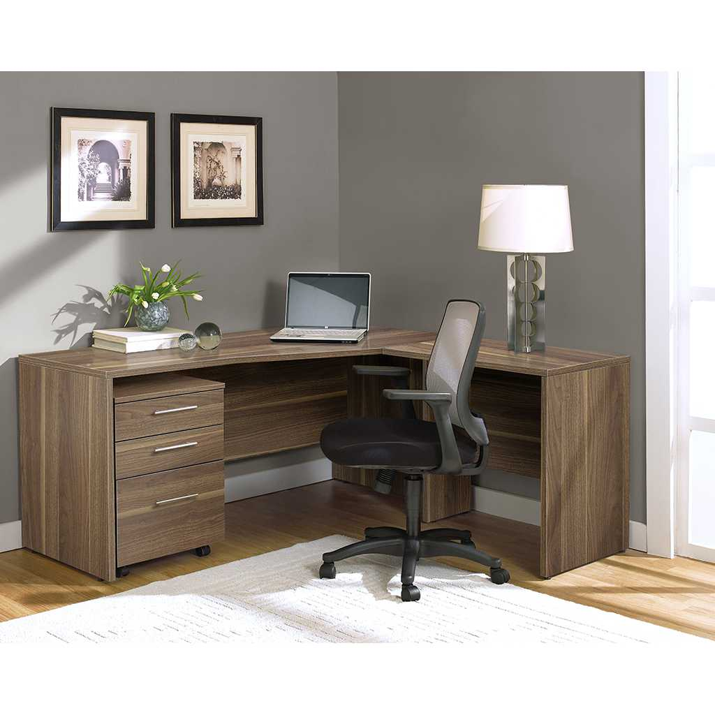 25 Cool Modular Home Office Furniture Designs: Unique Furniture 100 Series Walnut Mobile Pedestal File