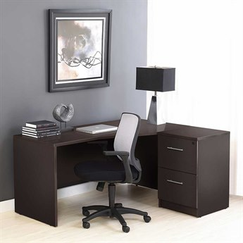 Unique Furniture 100 Series Espresso L-Shape 63'' x 51'' Computer Desk with Filing Cabinet