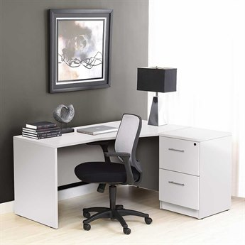 Unique Furniture 100 Series White L-Shape 63'' x 51'' Computer Desk with Filing Cabinet