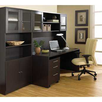 Unique Furniture 100 Series Espresso Executive Office Desk with Hutch & Bookcase