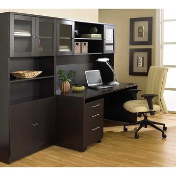Unique Furniture 100 Series Espresso Executive Office Desk with Hutch & Bookcase