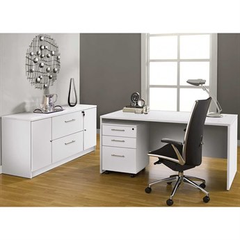 Unique Furniture 100 Series White Executive Office Desk with Credenza
