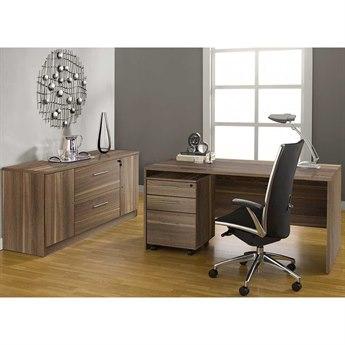 Unique Furniture 100 Series Walnut Executive Office Desk with Credenza
