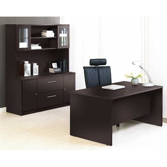 Unique Furniture 100 Series Espresso Executive Office Desk with Credenza