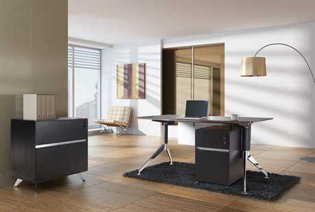 Unique Furniture 300 Series Espresso Executive 63'' x 32'' Computer Desk with File Cabinet & Mobile Pedestal