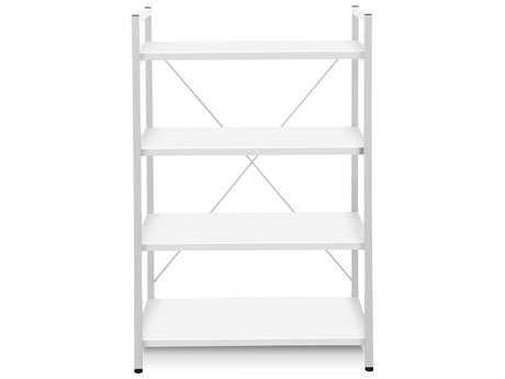 Unique Furniture 200 Series 32L x 48H White Four Shelf Bookcase