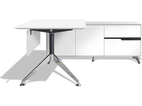 Unique Furniture 400 Series 77'' x 73'' White L-Shape Desk with Right Return Cabinet