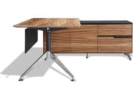 Unique Furniture 400 Series 77'' x 73'' Zebrano Executive Desk with Right Return Cabinet