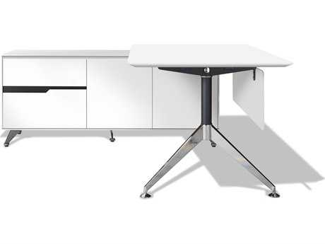 Unique Furniture 400 Series 77'' x 73'' White L-Shape Desk with Left Return Cabinet