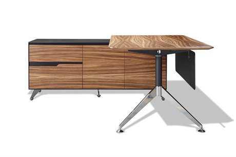 Unique Furniture 400 Series 77'' x 73'' Zebrano Executive Desk with Left Return Cabinet
