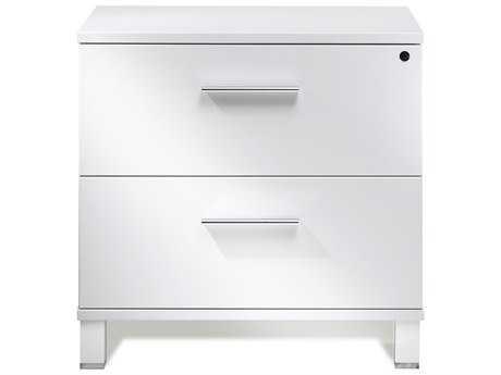 Unique Furniture 500 Collection White Lacquer Lateral File Cabinet