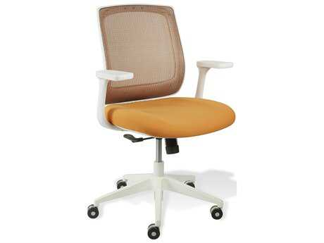 Unique Furniture Camilla Orange Mesh with White Base Office Chair