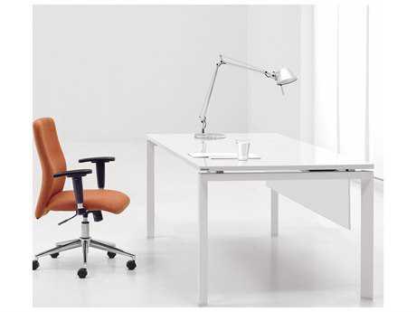 Unique Furniture 500 Collection 60'' x 30'' Rectangular White Lacquer Professional Workstation Desk