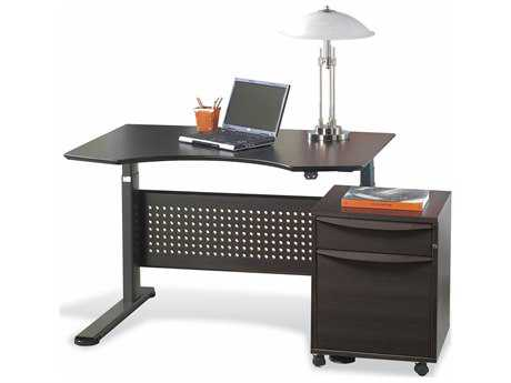 Unique Furniture Sit & Stand 47'' x 39'' Espresso Adjustable Computer Desk