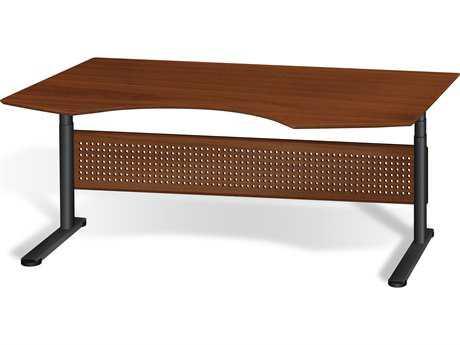 Unique Furniture Sit & Stand 75'' x 41'' Cherry Adjustable Computer Desk