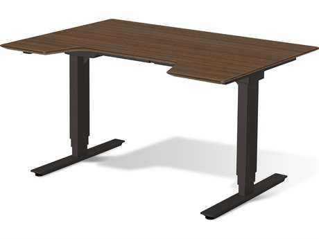 Unique Furniture Sit & Stand 65'' x 32'' Walnut Adjustable Computer Desk