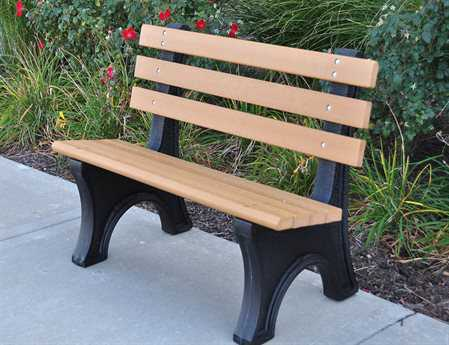 Frog Furnishings Recycled Plastic Comfort Park Avenue Bench in Cedar, 6 Foot, with Stainless Steel Bolts