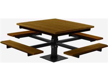 Frog Furnishings T Steel Recycled Plastic 4 ft. 67 Square Picnic Table