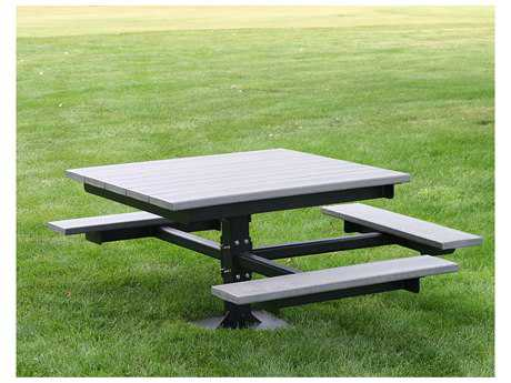 Frog Furnishings T ADA Steel Recycled Plastic 4 ft. 67 x 57.5 Rectangular Picnic Table