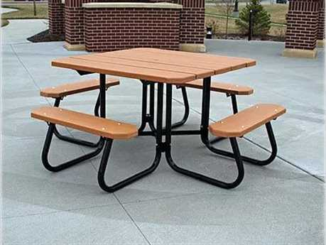 Frog Furnishings Square Steel Recycled Plastic 4 ft. 48 Square Picnic Table