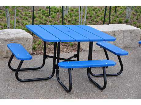 Frog Furnishings Square ADA Steel Recycled Plastic Ft Square - Square picnic table with benches