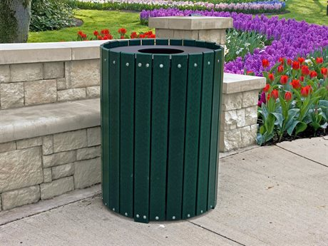 Frog Furnishings Recycled Plastic Standard Round 55 Gallon Hinged Door Receptacle