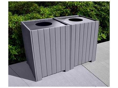 Frog Furnishings Receptacles Recycled Plastic 64 Gallon Square Recycling Center