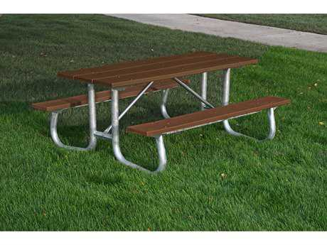 Frog Furnishings Galvanized Steel Recycled Plastic 6 Ft. 72 X 70  Rectangular Picnic Table