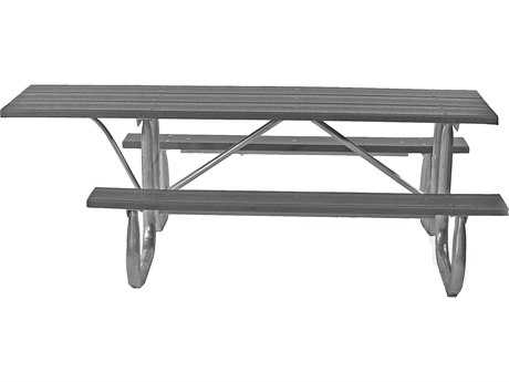Frog Furnishings Galvanized Steel Recycled Plastic 6 ft. 90 x 70 ADA Rectangular Picnic Table