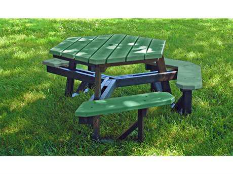 Frog Furnishings Hex Recycled Plastic 6 ft. 69.5 x 69.5  Hexagon Picnic Table