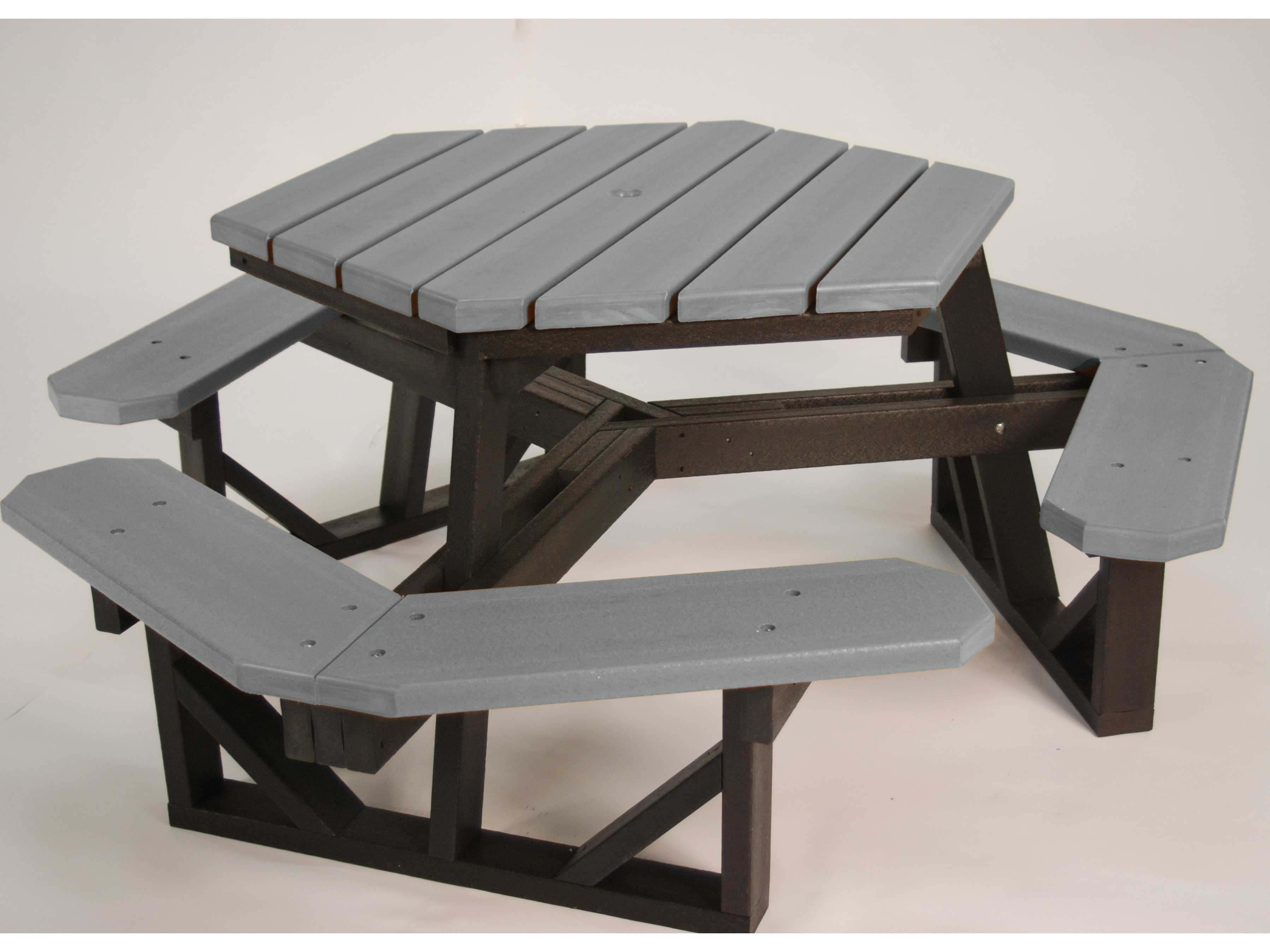 Frog Furnishings Hex Recycled Plastic 6 ft  69 5 x 69 5 Hexagon Picnic Table