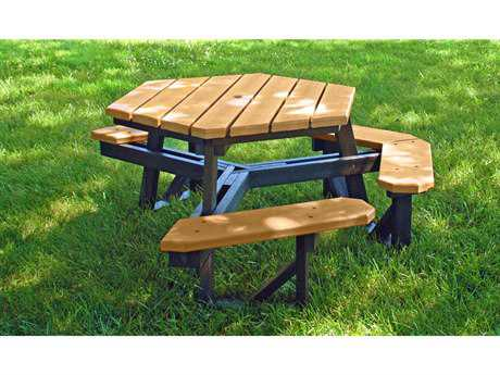 Frog Furnishings Hex ADA Recycled Plastic 6 ft. 65 x 69.5 Hexagon Picnic Table